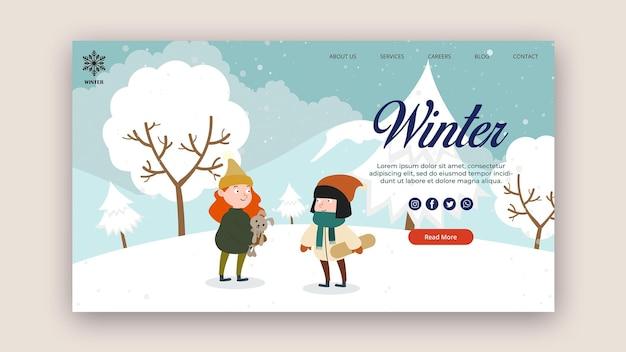 Modèle de page de destination pour l'hiver avec des gens