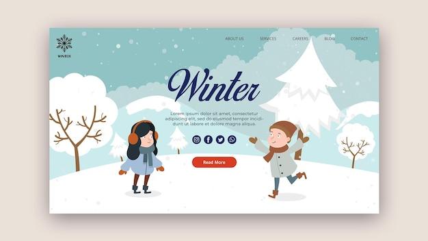 Modèle de page de destination pour l'hiver avec de la neige