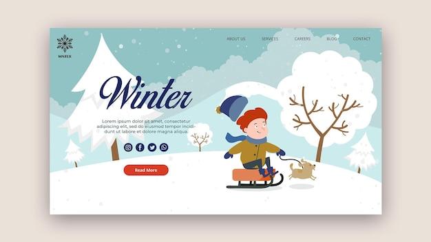 Modèle de page de destination pour l'hiver