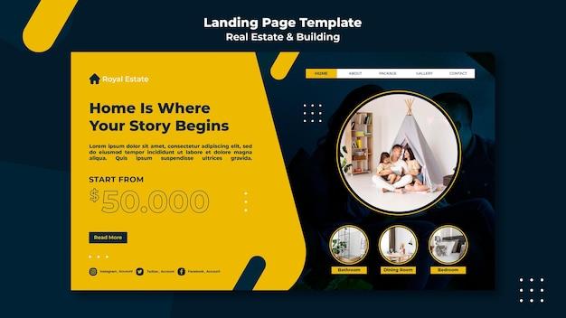 Modèle de page de destination pour l'immobilier et le bâtiment