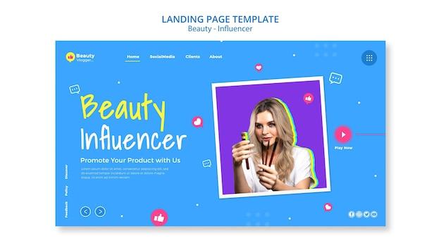 Modèle de page de destination pour influenceur de beauté