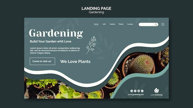 Modèle de page de destination pour le jardinage