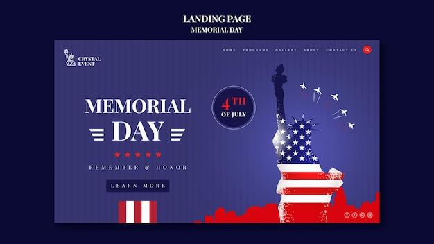 Modèle de page de destination pour le jour commémoratif des états-unis