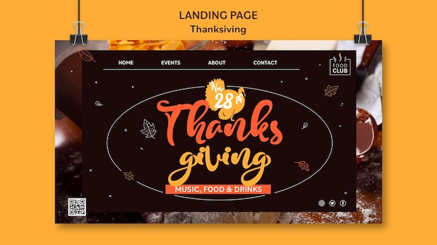 Modèle de page de destination pour le jour de thanksgiving