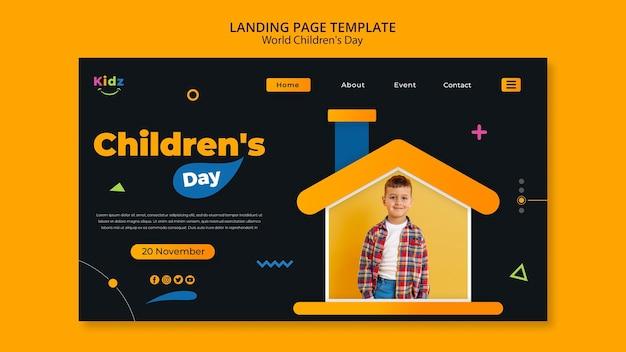 Modèle de page de destination pour la journée des enfants