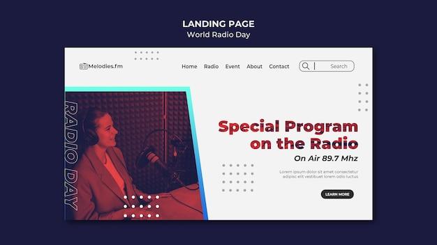 Modèle de page de destination pour la journée mondiale de la radio avec un diffuseur masculin