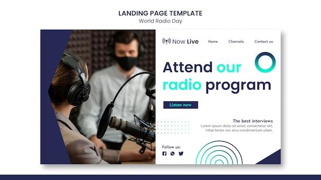 Modèle De Page De Destination Pour La Journée Mondiale De La Radio Psd gratuit