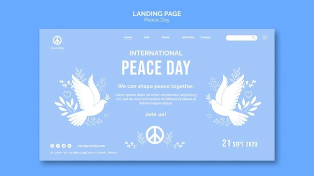 Modèle de page de destination pour la journée de la paix