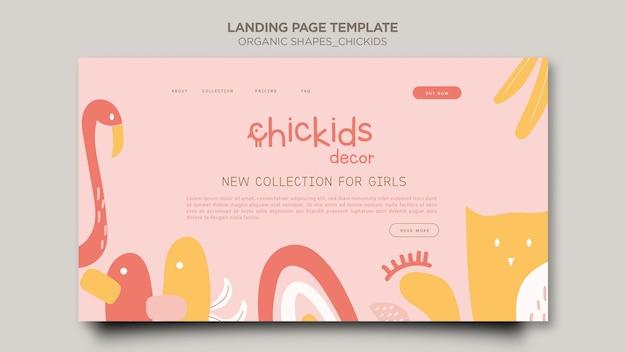 Modèle de page de destination pour magasin de décoration intérieure pour enfants