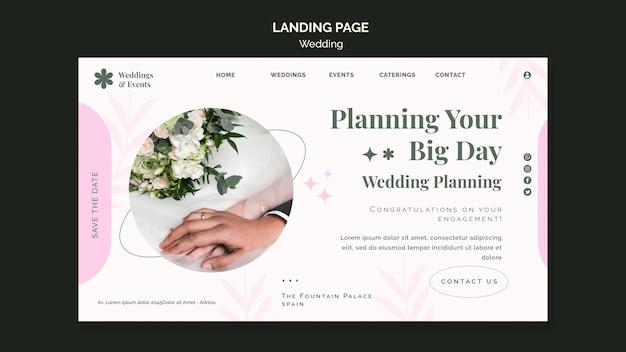 Modèle de page de destination pour mariage