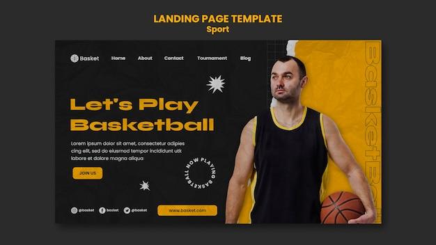 Modèle de page de destination pour un match de basket-ball avec un joueur masculin