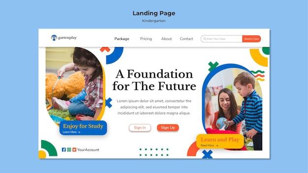 Modèle de page de destination pour la maternelle avec enfants