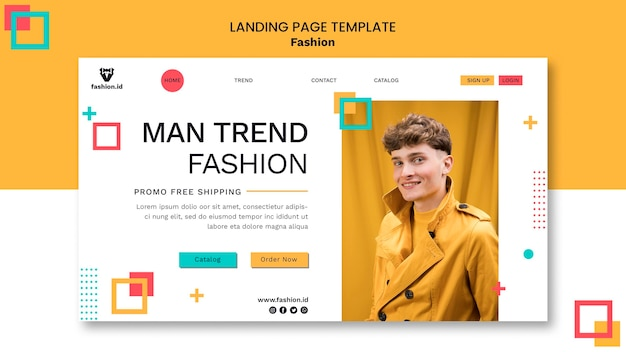 Modèle de page de destination pour la mode avec un modèle masculin