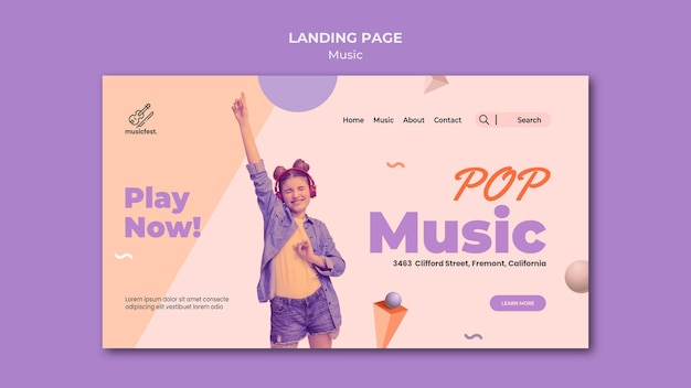 Modèle de page de destination pour la musique avec une femme utilisant des écouteurs et dansant