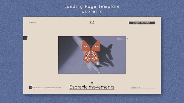 Modèle de page de destination pour le mysticisme et l'ésotérisme