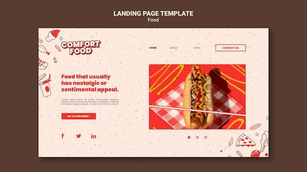 Modèle de page de destination pour la nourriture réconfortante de hot-dog