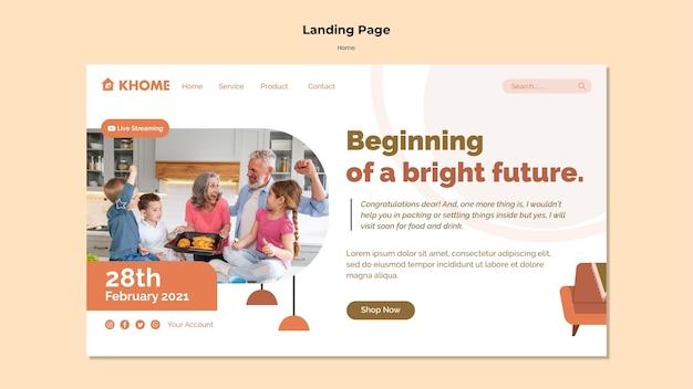 Modèle de page de destination pour la nouvelle maison familiale
