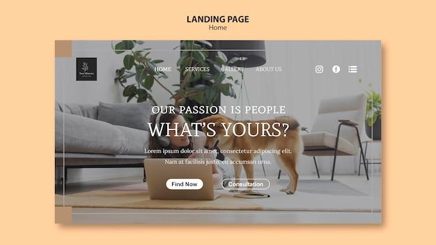 Modèle de page de destination pour la nouvelle maison de rêve