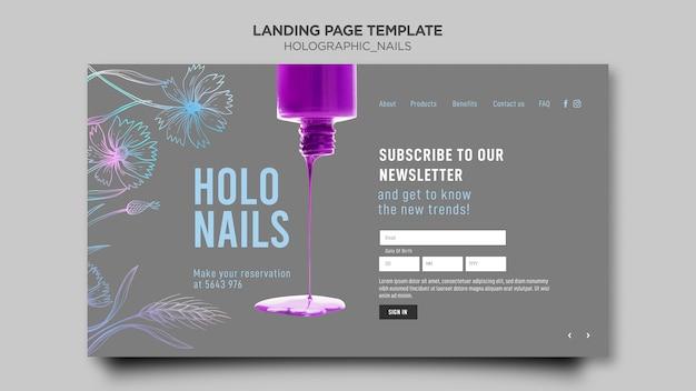 Modèle de page de destination pour les ongles holographiques