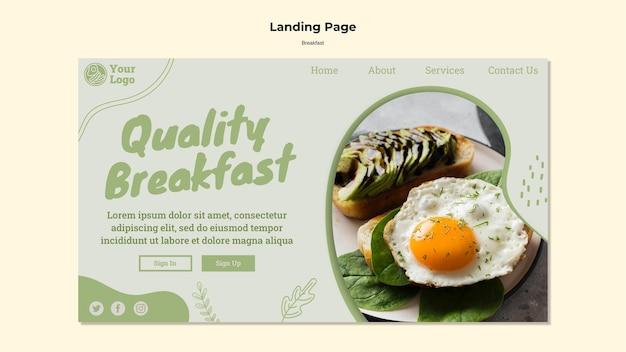 Modèle de page de destination pour un petit-déjeuner sain