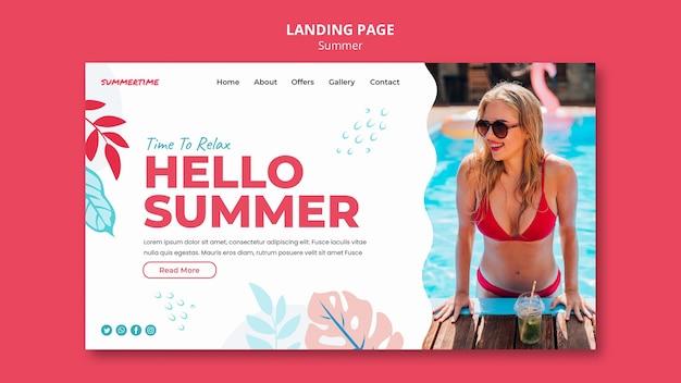Modèle De Page De Destination Pour Les Plaisirs De L'été à La Piscine PSD Premium