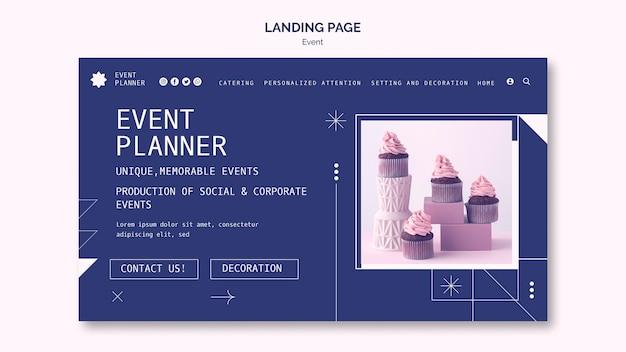 Modèle de page de destination pour la planification d'événements sociaux et d'entreprise