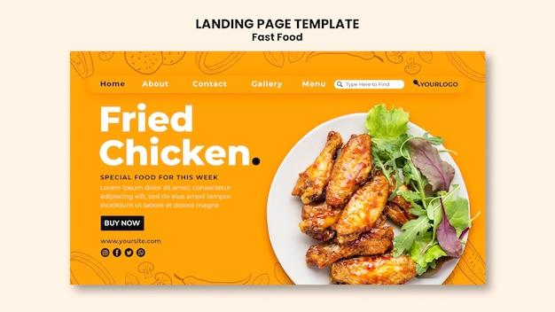 Modèle de page de destination pour plat de poulet frit