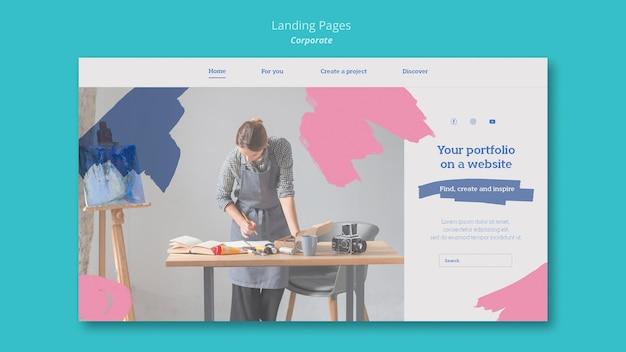 Modèle de page de destination pour le portfolio de peinture sur le site web