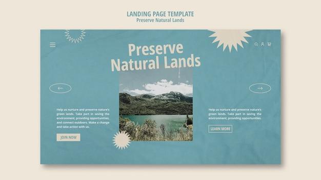 Modèle de page de destination pour la préservation de la nature avec paysage