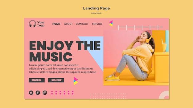 Modèle de page de destination pour profiter de la musique