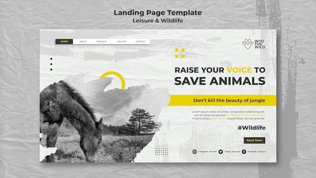Modèle de page de destination pour la protection de la faune et de l'environnement