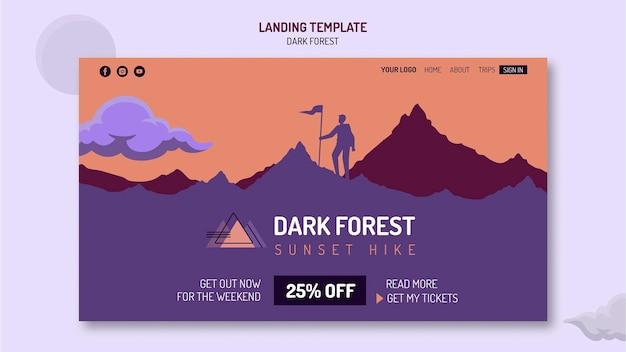 Modèle de page de destination pour la randonnée dans la forêt sombre
