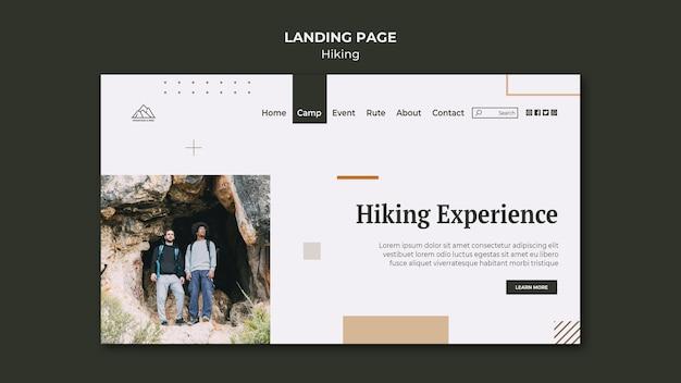 Modèle de page de destination pour la randonnée dans la nature