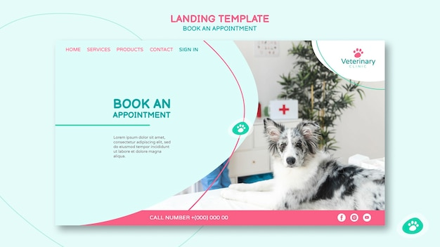 Modèle de page de destination pour rendez-vous vétérinaire