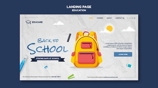Modèle de page de destination pour la rentrée scolaire
