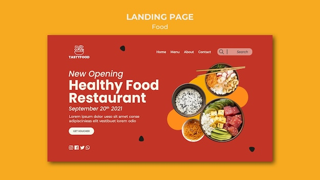 Modèle de page de destination pour restaurant avec bol de nourriture saine
