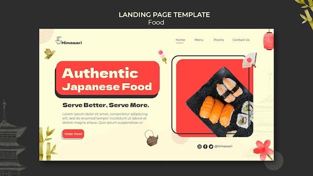 Modèle de page de destination pour un restaurant de cuisine japonaise