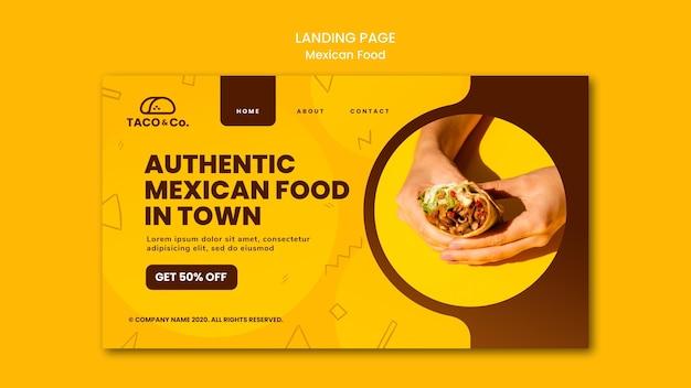 Modèle de page de destination pour un restaurant de cuisine mexicaine