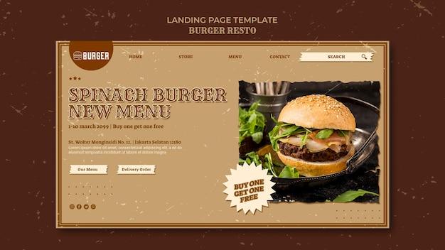 Modèle de page de destination pour le restaurant de hamburgers