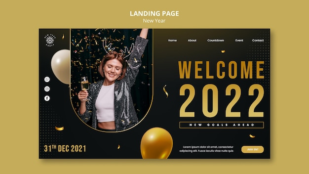 Modèle de page de destination pour le réveillon du nouvel an