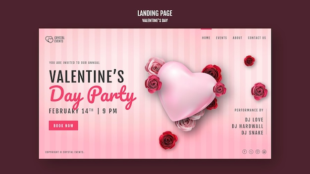 Modèle de page de destination pour la saint-valentin avec coeur et roses rouges
