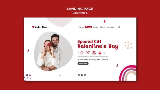 Modèle de page de destination pour la saint-valentin avec couple