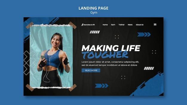 Modèle de page de destination pour la salle de sport avec une athlète féminine
