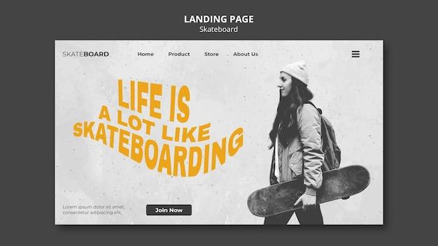 Modèle de page de destination pour le skateboard avec une femme