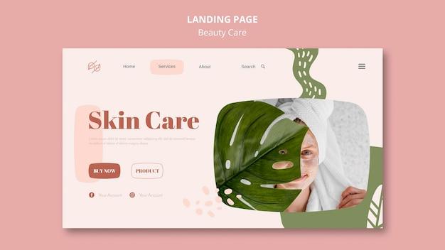 Modèle de page de destination pour les soins de beauté