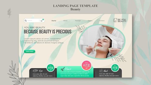 Modèle de page de destination pour les soins de la peau et la beauté avec une femme