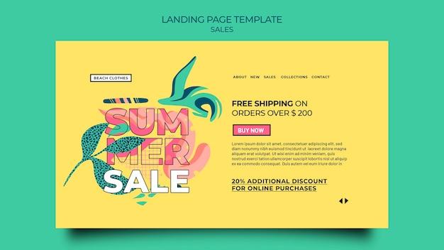 Modèle de page de destination pour les soldes d'été