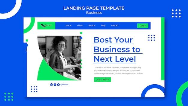 Modèle de page de destination pour solution d'entreprise avec photo monochrome