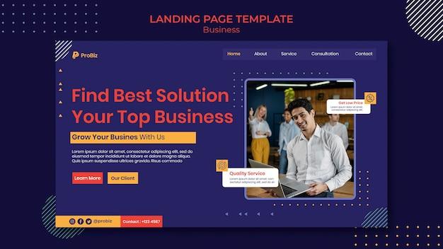 Modèle de page de destination pour les solutions commerciales professionnelles