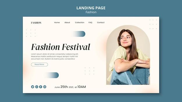 Modèle de page de destination pour le style de la mode et les vêtements avec femme